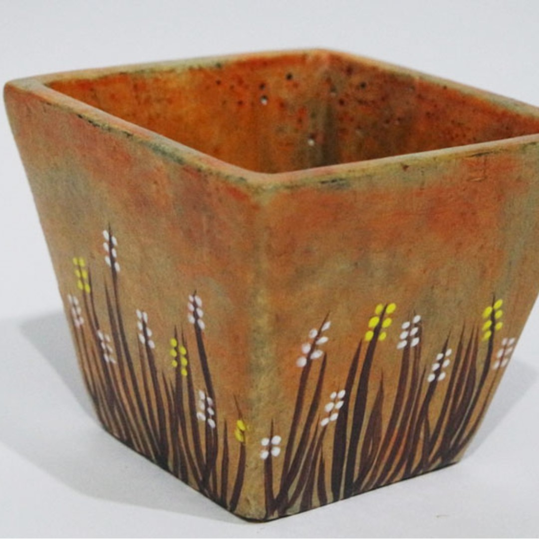 Handcrafted Square Flower Pot (Cement)