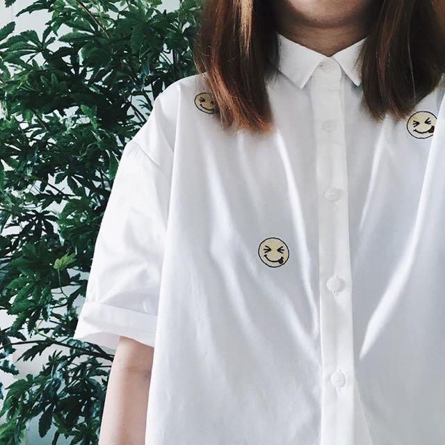 HK Designer Elizabeth Lau Embroidered Emoji Crop Shirt