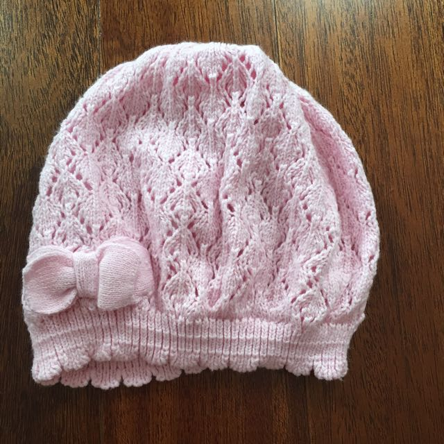 H&M baby girl knit hat pink 1-2thn