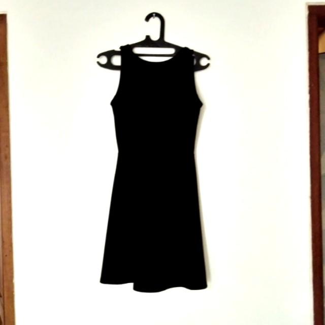 HnM Black Simple Skater Dress V back