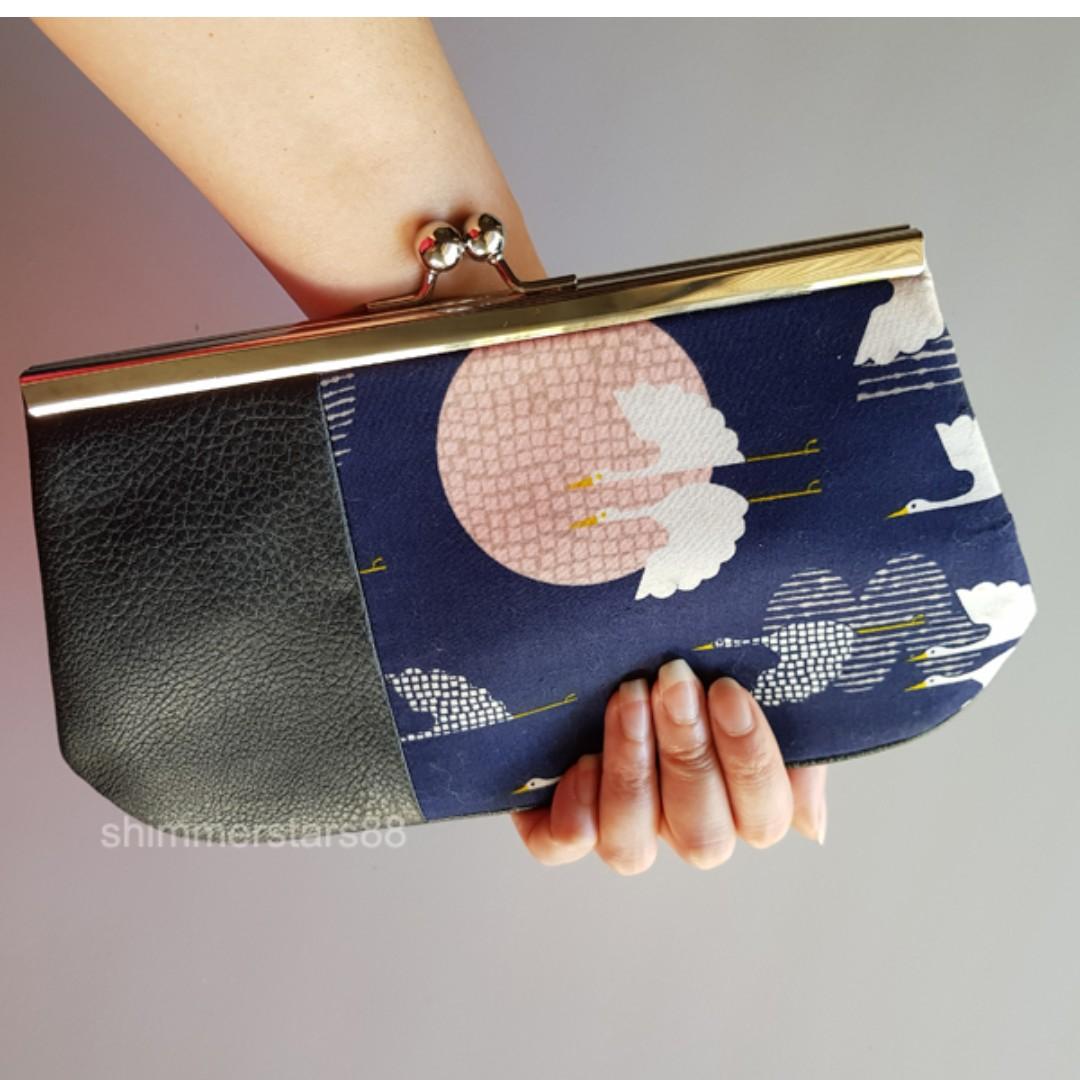 Japanese Crane Print Clutch Pouch Bag