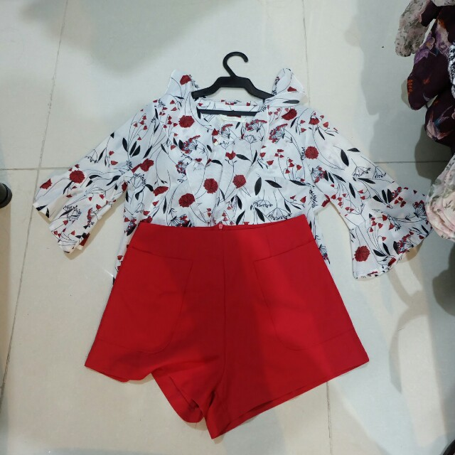 Korean Floral Top and Red Shorts