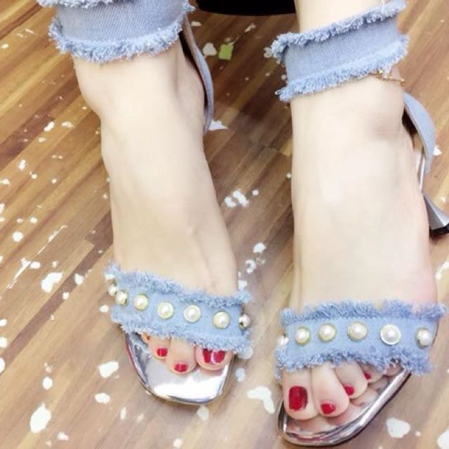 Light Blue Denim and Pearls Sandals size 35 36 38 39