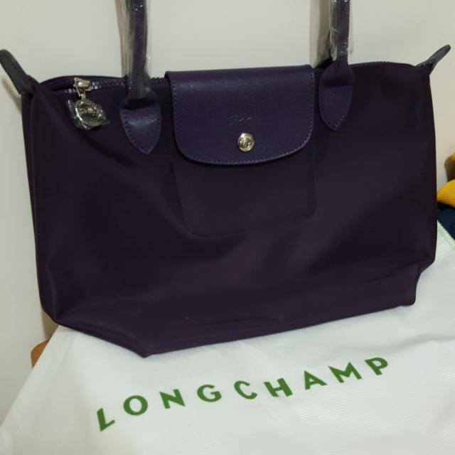 👍真品厚款深紫色longchamp