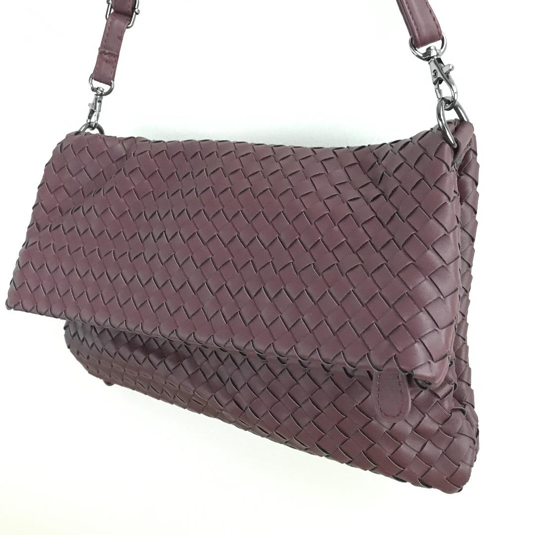Maroon woven crossbody bag