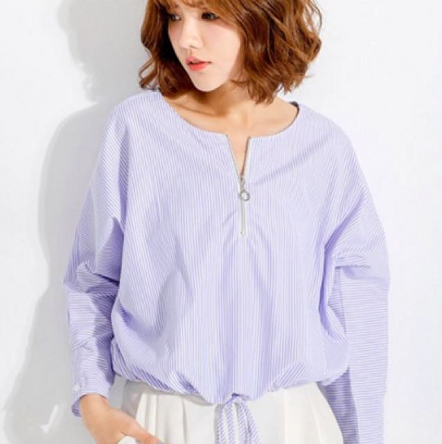 Mayuki Zip Front Blouse with Tie Detail in Blue