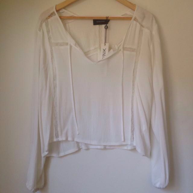 Minkpink tie-front lace top