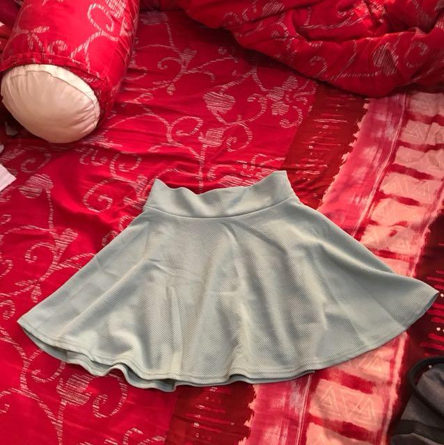 Mint flare skirt (mini skirt) rok