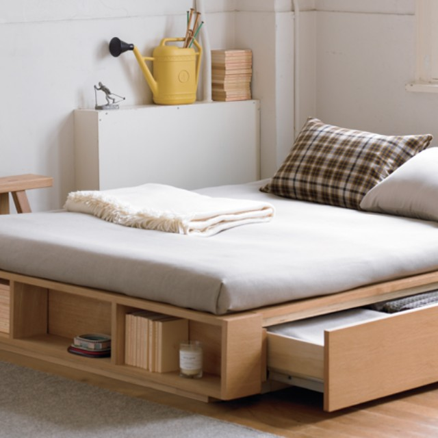 Muji Queen Storage Bed, Furniture, Beds & Mattresses on Carousell