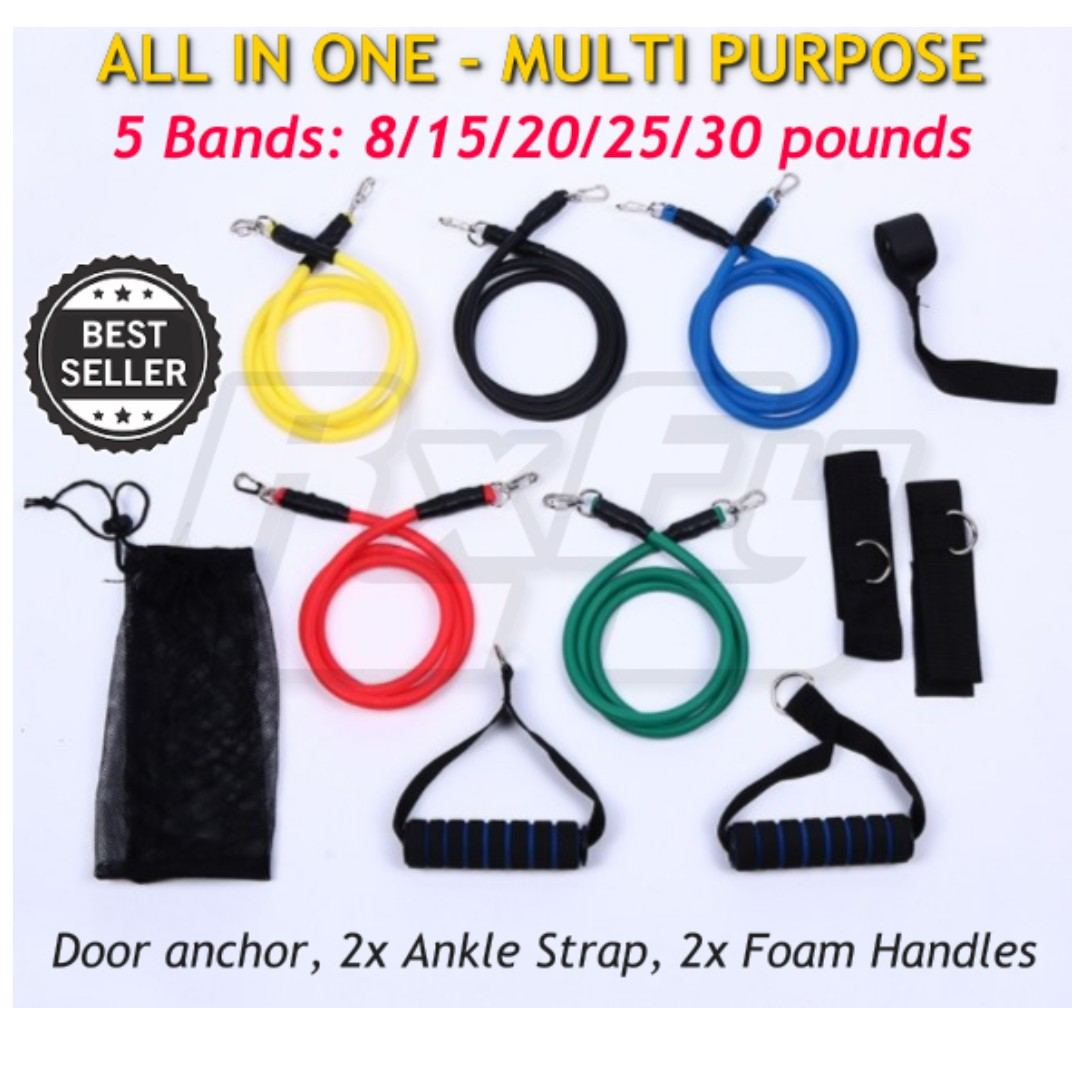 *New* 98lbs Sports Resistance Band Workout Kit Fitness Exercise Tube Rope Set Gym Strength Training Crossfit Elastic