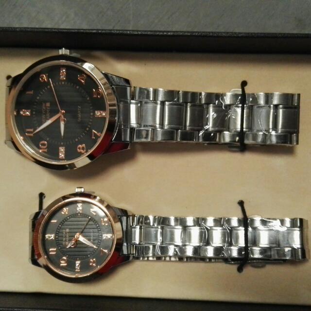 Newyork Army Nya5145RG Black Dial Stainless Steel Couple Watch