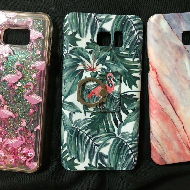 三星note5 流沙亮片紅鶴叢林質感指扣大理石霧面手機套手機殼全新三件
