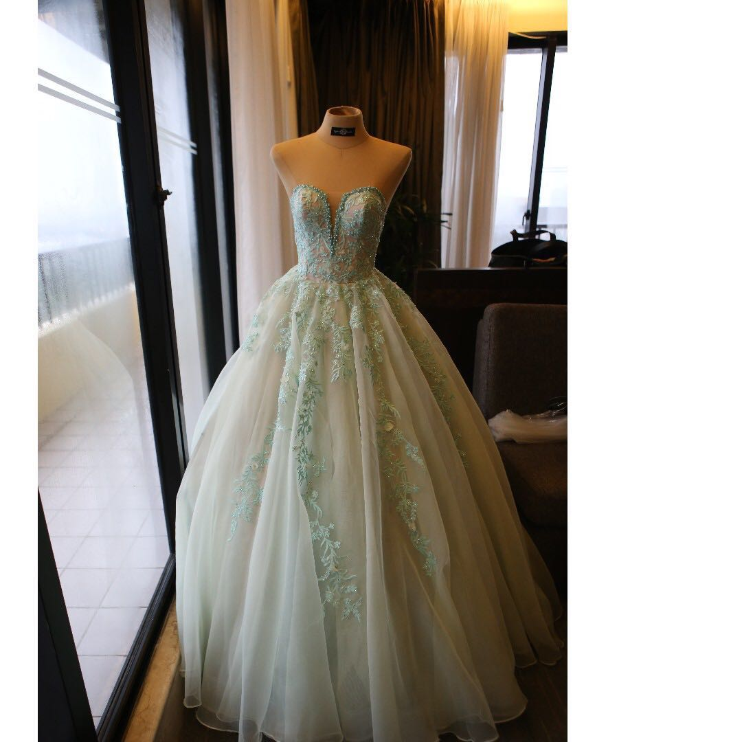 NOW FOR RENT!! Second Hand Debut Gown (Mint Green Ball Gown ...