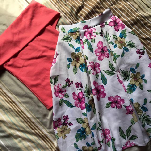 Off shoulder top and skirt set
