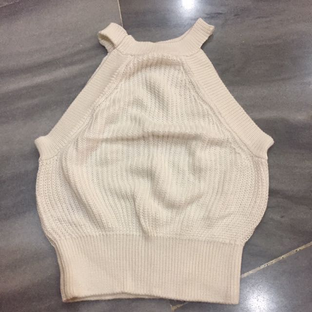 Off white knitted halter crop top