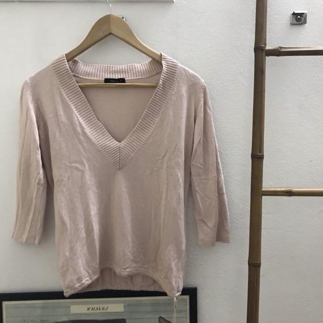 Pastel Pink V Neck Sweater