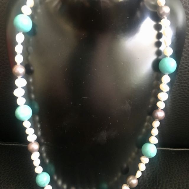 Pearl and turquoise necklace , free Postage