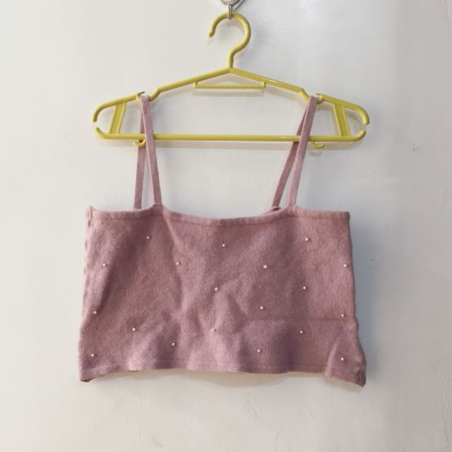 Pink with pearl cropped top