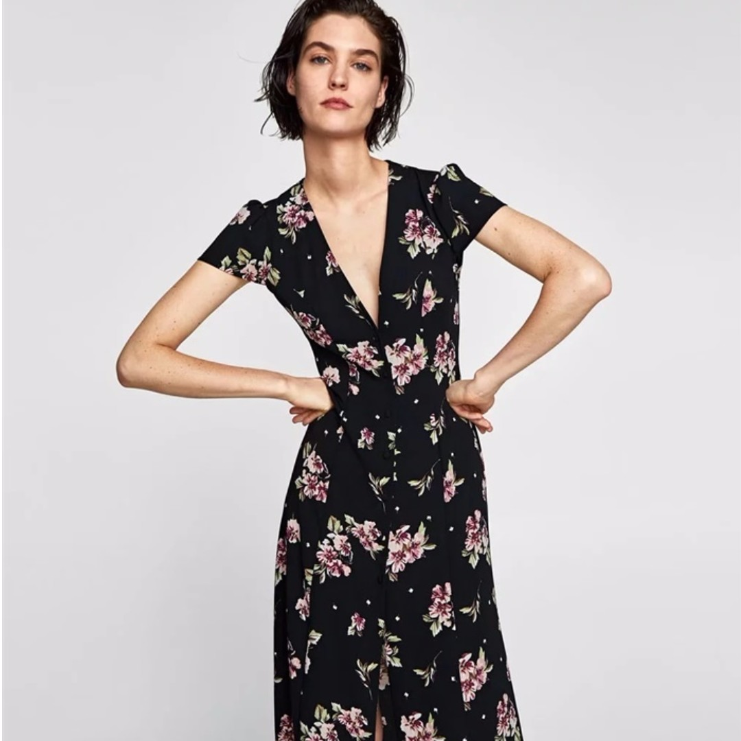 08f9c9cf8d PO / ZARA LINE: Giselle Floral Midi Dress, Women's Fashion, Clothes,  Dresses & Skirts on Carousell