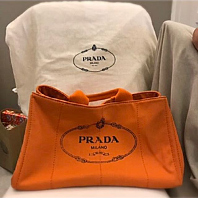 83044eb470d8 Prada Canapa Canvas Tote Bag Orange, Luxury, Bags & Wallets on Carousell