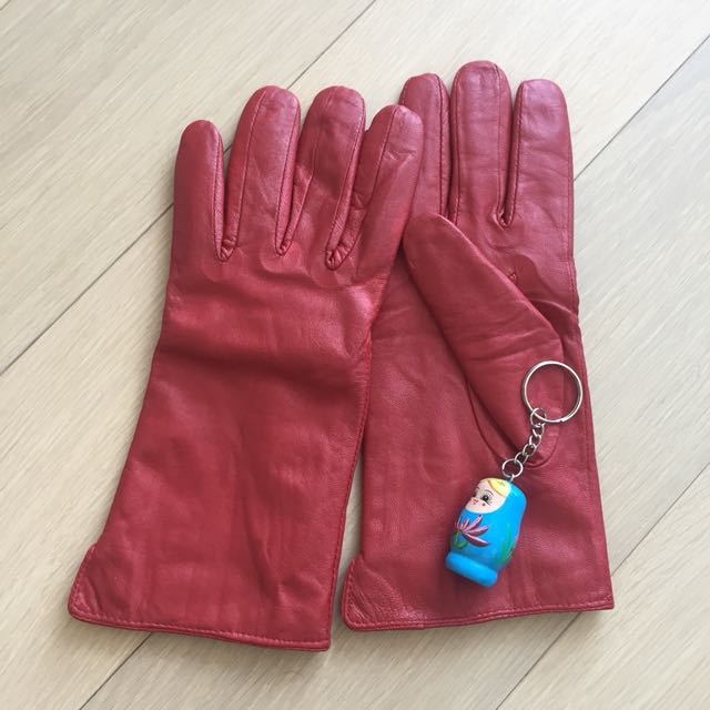 Red leather lambskin gloves