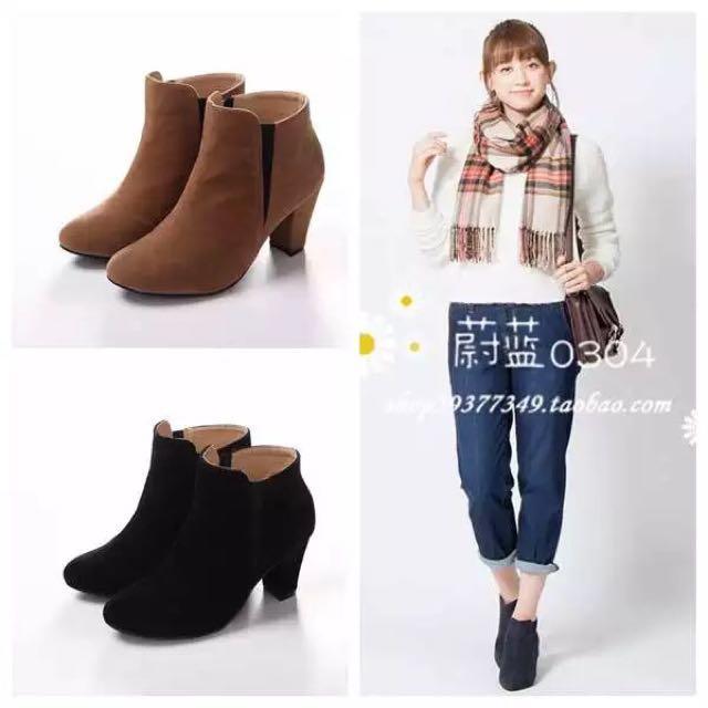 日本品牌ROPE PICNIC黑色短靴(全新)