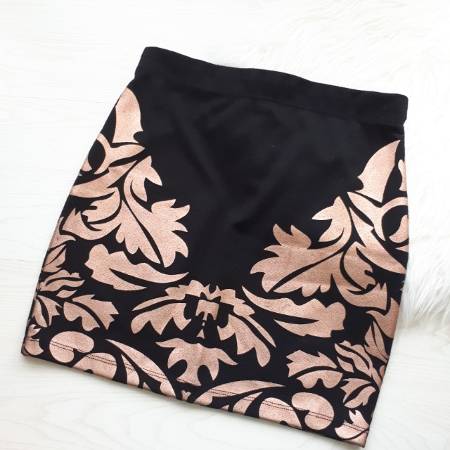 Rose gold pattern mini skirt / rok span
