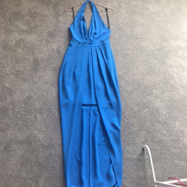 Sheike high to low blue maxi halter backless 6