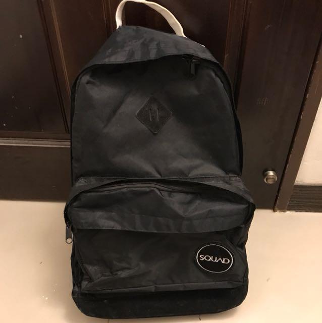 《二手》SQUAD黑色尼龍麂皮拼接後背包