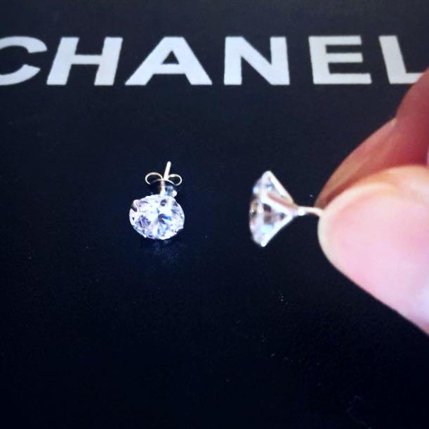 Sterling silver 925 diamond look studs