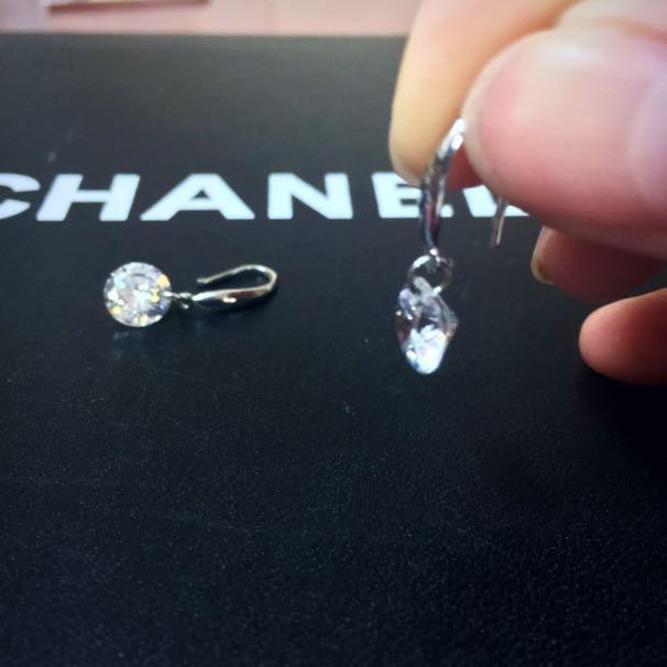 Sterling silver 925 drop earrings floating diamond