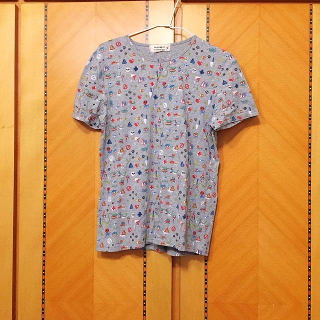 中性可愛印花t shirt