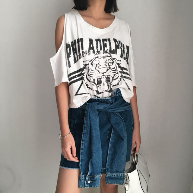 Tiger Cut Out Shoulder Tee