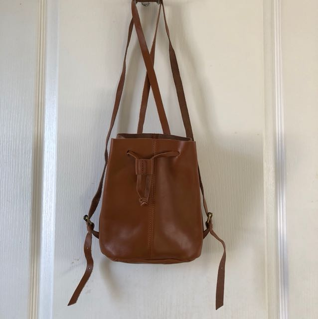 TopShop Leather bucket backpack