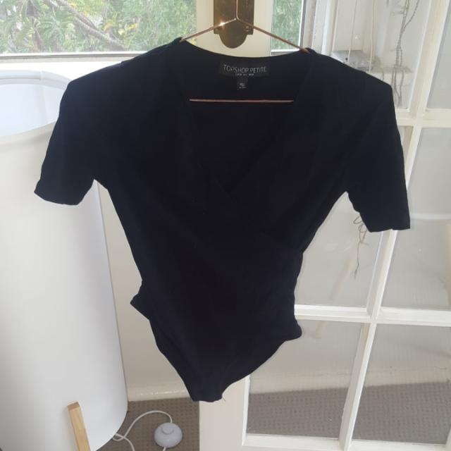 Topshop Petite Size 10 Black Body Suit With Wrap Front