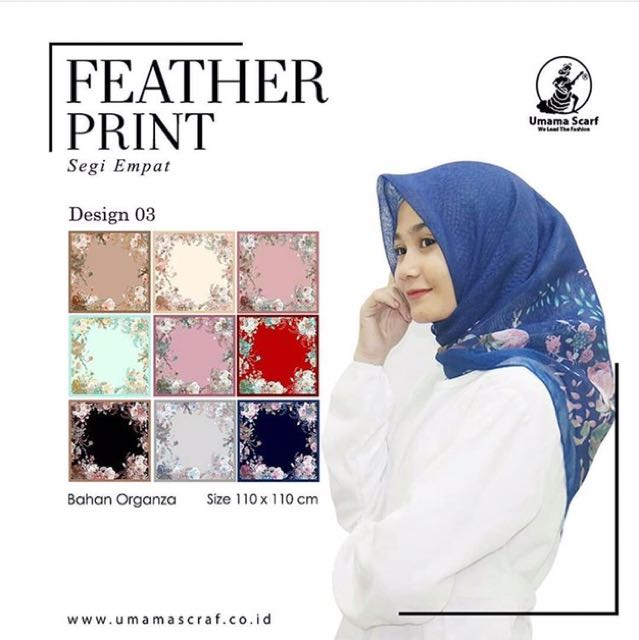 Umama Feather Print Design 3 Olshop Fashion Olshop Muslim Di Carousell