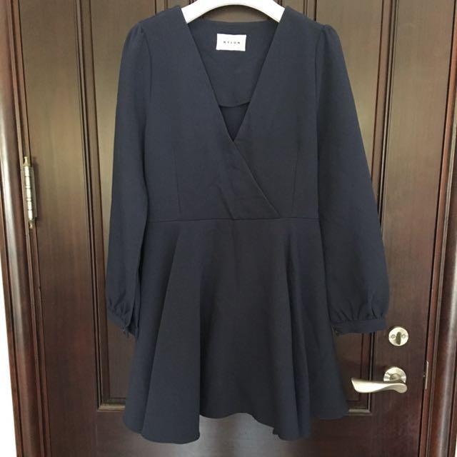 韓國V領長洋裝