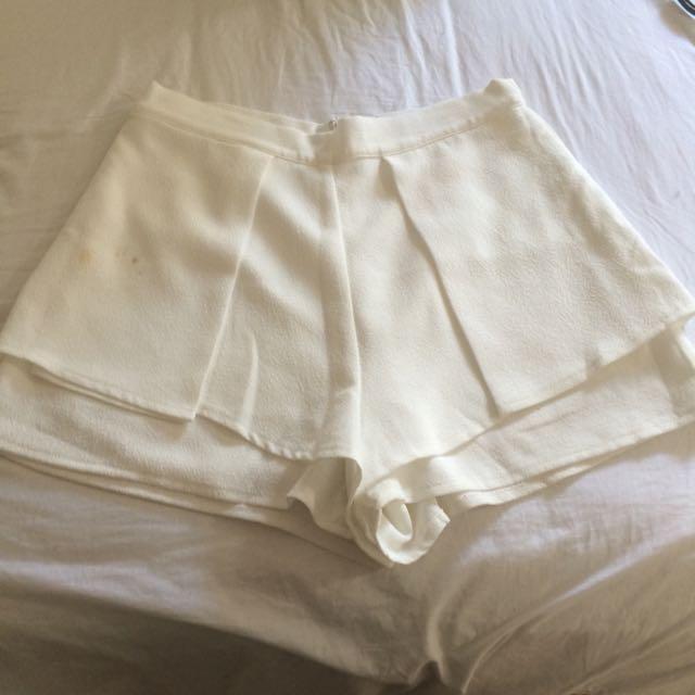 White Fabric Shorts