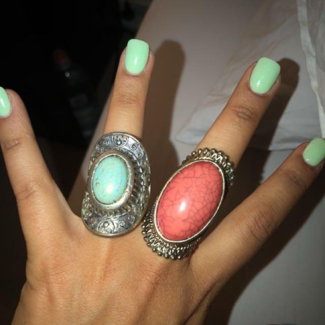 Womens boho chunky rings x 2