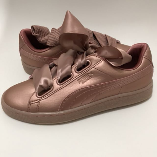 premium selection 3f953 51f11 Women's puma basket heart copper trainers