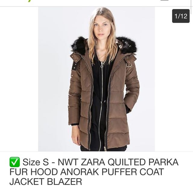 550d14ab ZARA QUILTED PARKA WITH FUR HOOD WINTER JACKET/PUFFER COAT ...