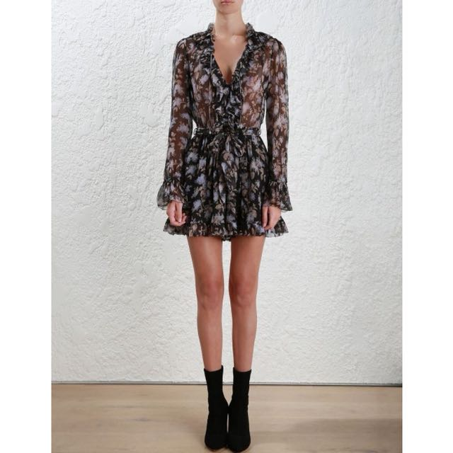 cb0bbc04e6f Zimmermann Stranded Ruffle Playsuit in Black lavender floral silk ...