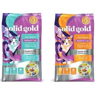 Solid Gold Let's Stay Indoor Cat Dry Food 3lb $31 / 6lb $50