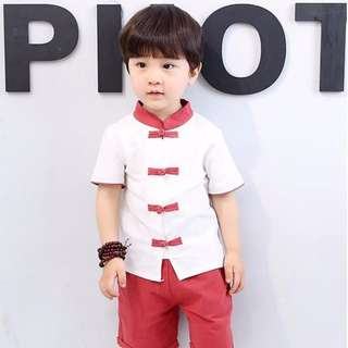 TZ035 Boys Traditional Chinese 2 pc Kungfu Set Red