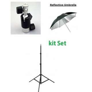 Flash Ballhead And Umbrella With Stand Set
