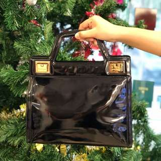 Salvatore Ferragamo Black Gold Leather Bag
