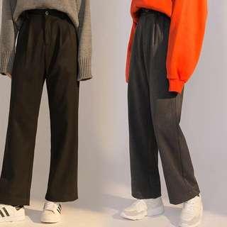 韓國灰色加厚直腳西褲(灰色)