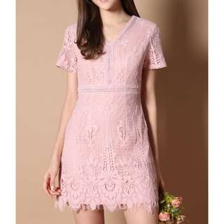 The Stage Walk Erin Sweet Lace Dress Pink