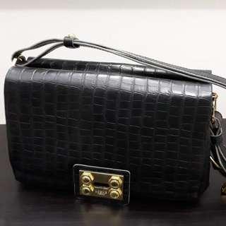 Preloved Croc Embossed Leather Handbag