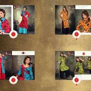 """New Palazzo """"Padmavati  Designs :- 4 pcs Top :- Rayon Print Bottom :- Rayon Plazzo  Size :- M -  L-  XL"""